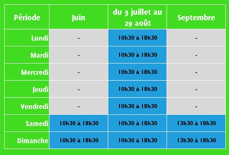 calendrier ouverture aventure parc